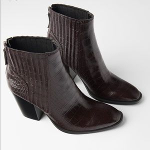 Zara Embossed Animal Print wide boots.
